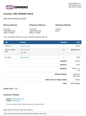 WooCommerce Print Invoices / Packing lists invoice example