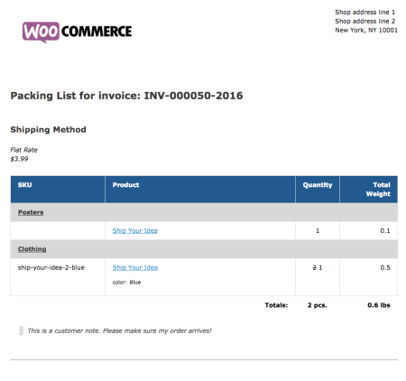 WooCommerce Print Invoices / Packing Lists packing list example