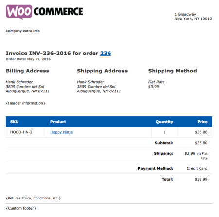 WooCommerce Print Invoices & Packing Lists example invoice