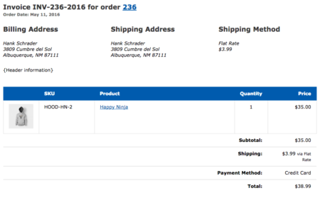 WooCommerce Print Invoices & Packing Lists modified order items table