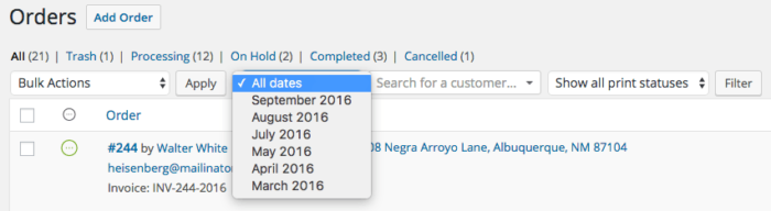 WooCommerce: Filter orders by date