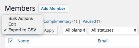 WooCommerce Memberships: Export members bulk action