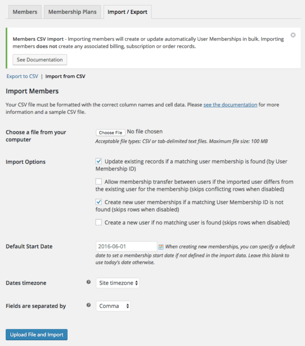 WooCommerce Memberships: import settings