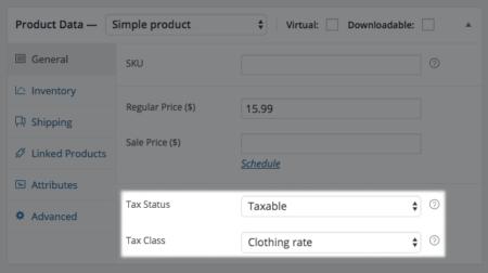 WooCommerce Product tax class