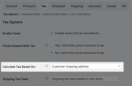 WooCommerce Sales Tax Options
