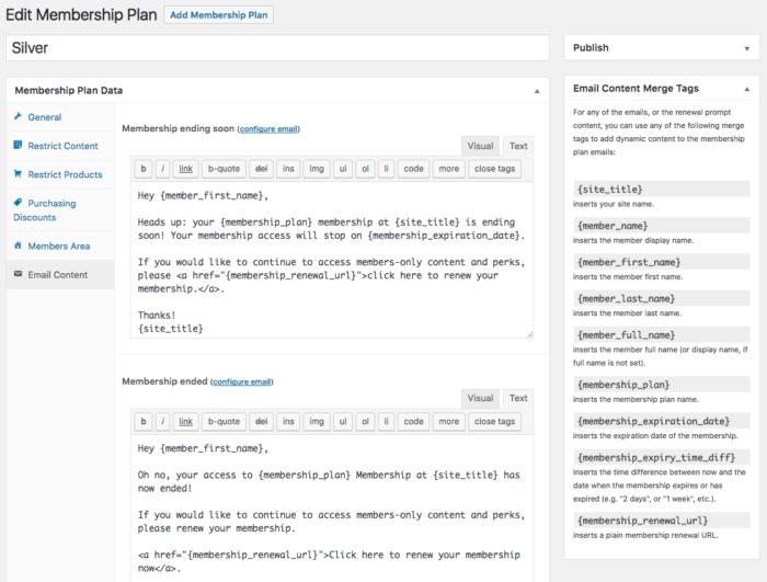WooCommerce memberships: email content per plan