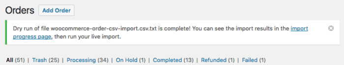 WooCommerce CSV Import - dry run completed