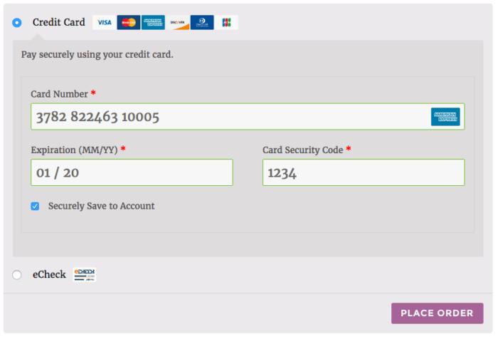WooCommerce Elavon Save credit cards