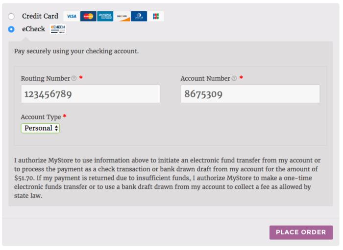 WooCommerce Elavon echeck checkout