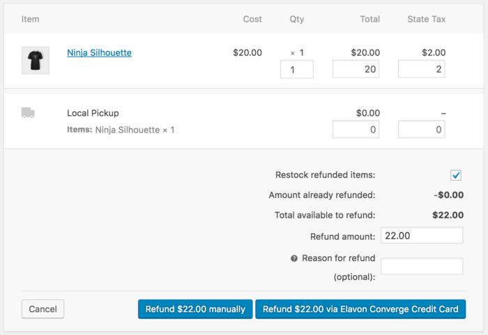 WooCommerce Elavon process refund