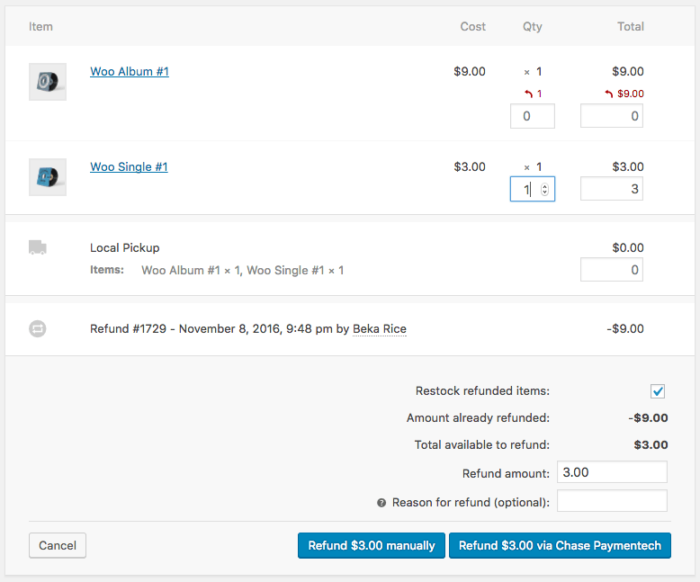 WooCommerce Chase Paymentech Refunds via WooCommerce