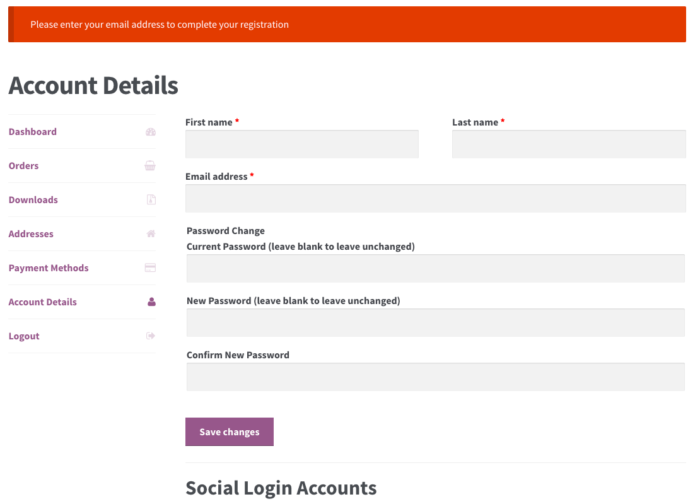 WooCommerce Social Login: email missing - old