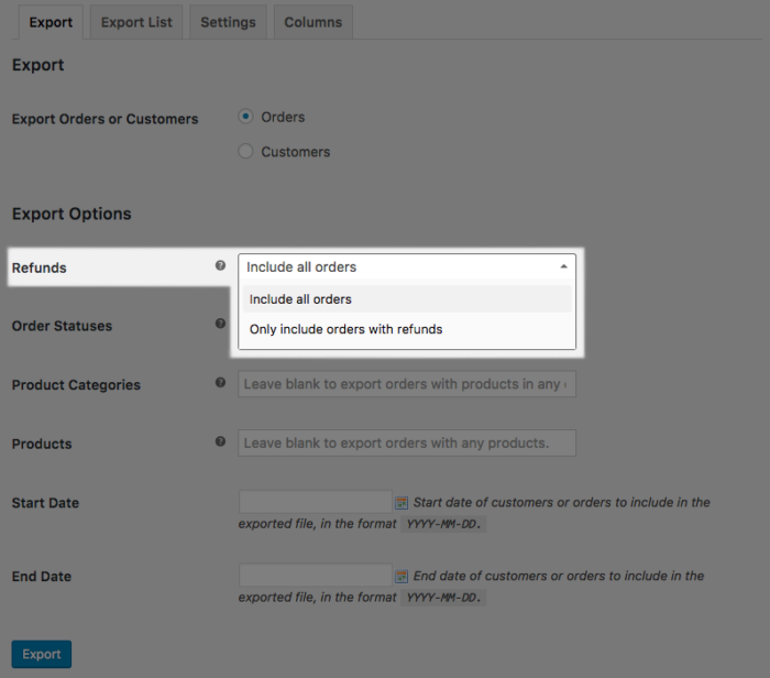 WooCommerce Orders Export: New Export Option