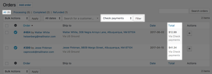 WooCommerce Orders Filtered by Payment