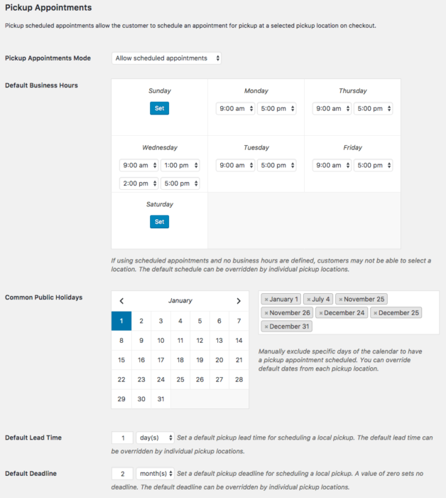 WooCommerce Local Pickup Plus pickup appointment settings