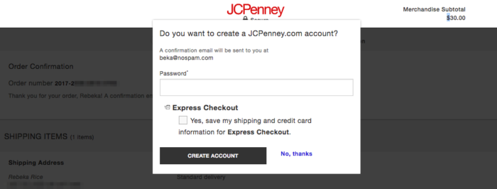 Example: Post-checkout registration