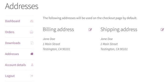 WooCommerce customer information saved