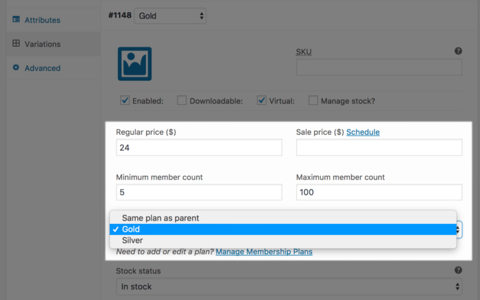 Team for Memberships: variable product