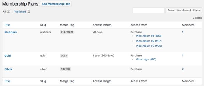 MailChimp for WooCommerce Memberships plan settings