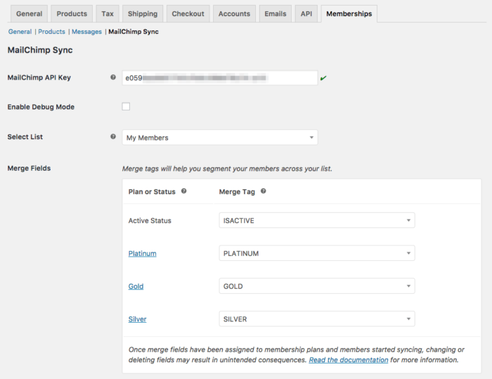 MailChimp for WooCommerce Memberships settings