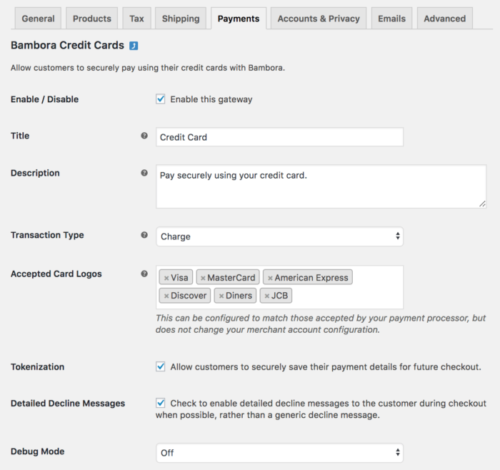 WooCommerce Bambora settings