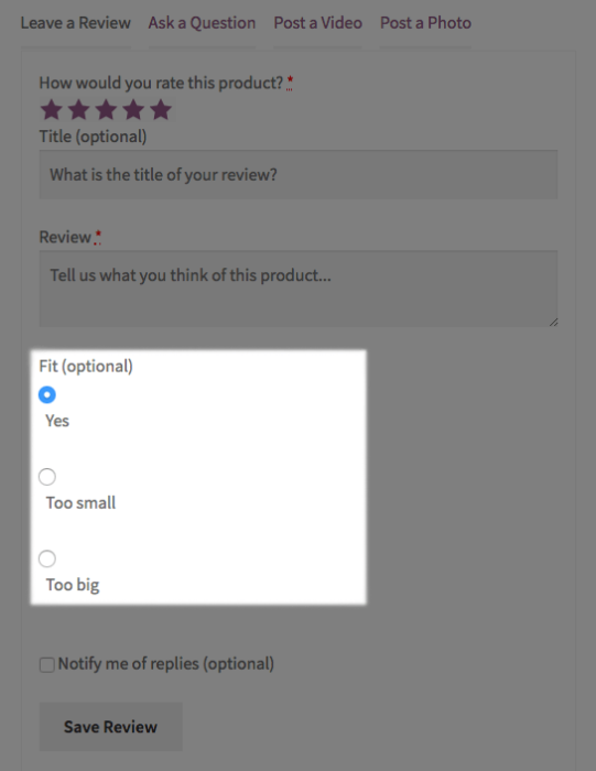WooCommerce Product Reviews Pro: Radio qualifiers