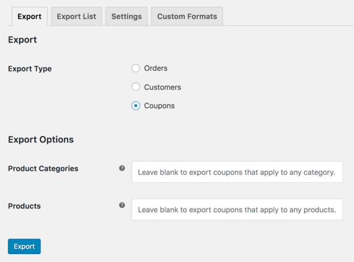 WooCommerce Customer / Order / Coupon csv export: coupon export tool