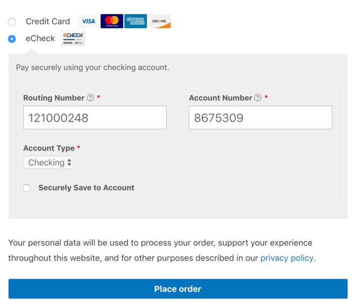WooCommerce Authorize.Net Inline echeck form