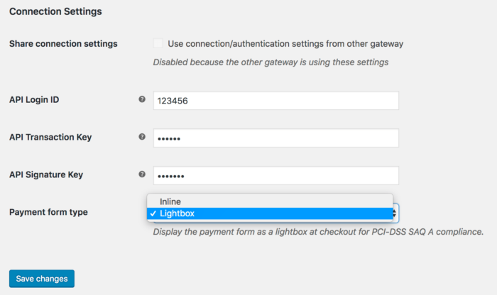 WooCommerce Authorize.Net connection settings (credit card)
