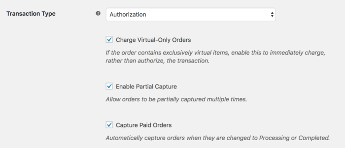 Authorization settings WooCommerce Global Payments