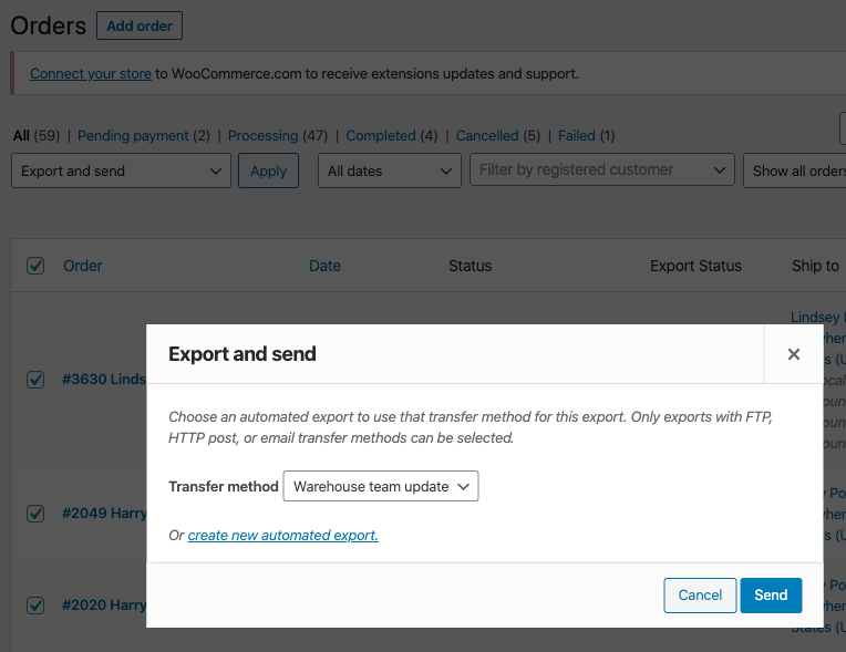 WooCommerce Customer / Order / Coupon Export export and send orders