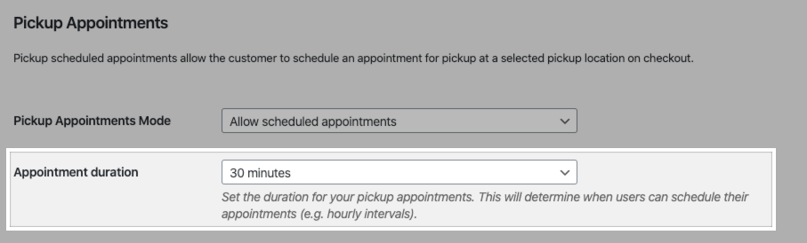 The appointment duration setting in the Local Pickup Plus settings.