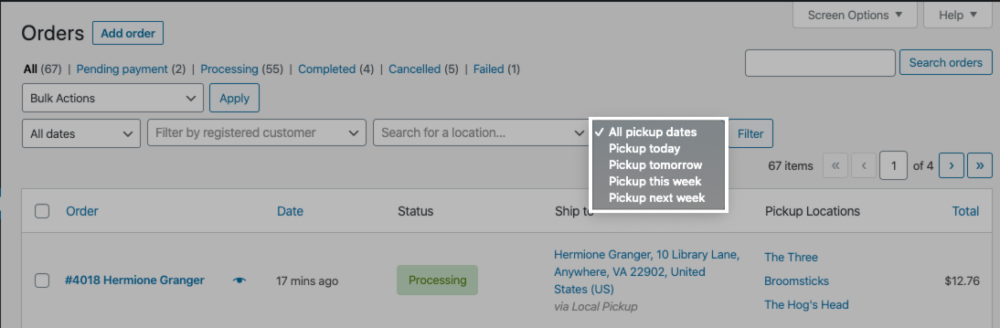 The pickup date filter in the WooCommerce Orders page.