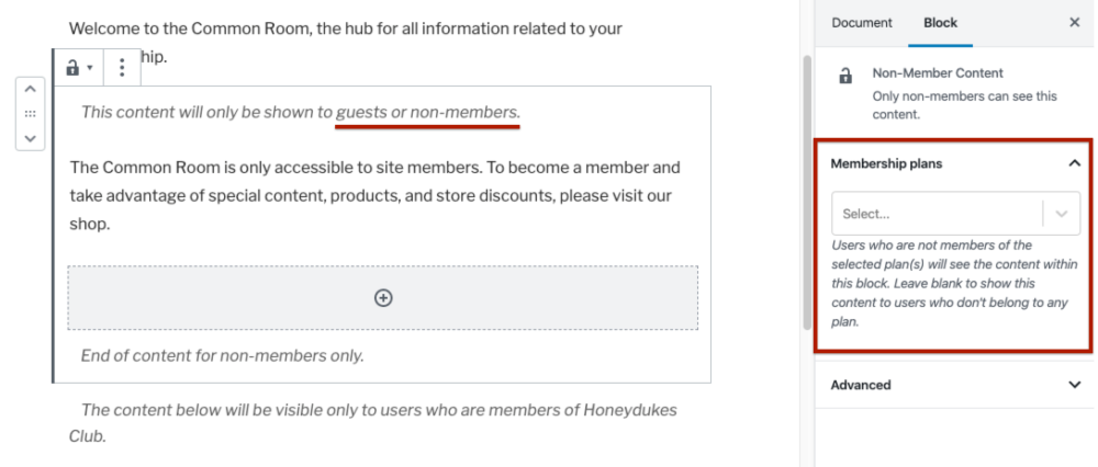 Adding the Non-member Content block on a WordPress page.