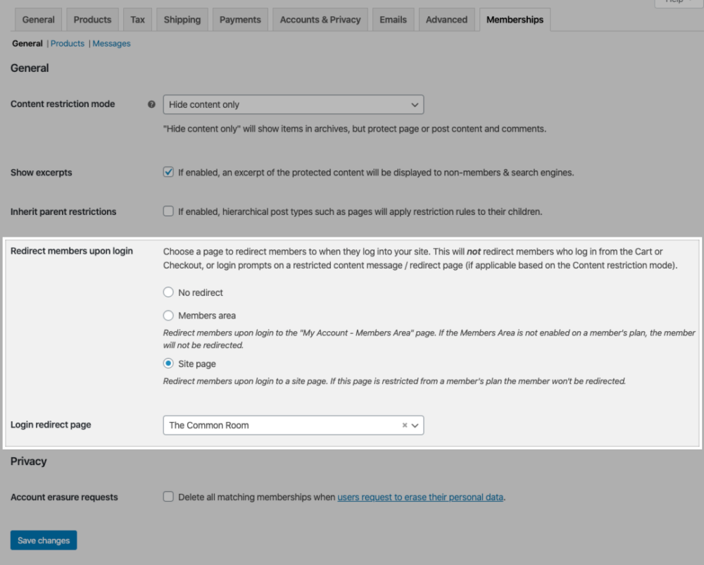 The Redirect members upon login and Login redirect pages settings in the site Memberships settings.