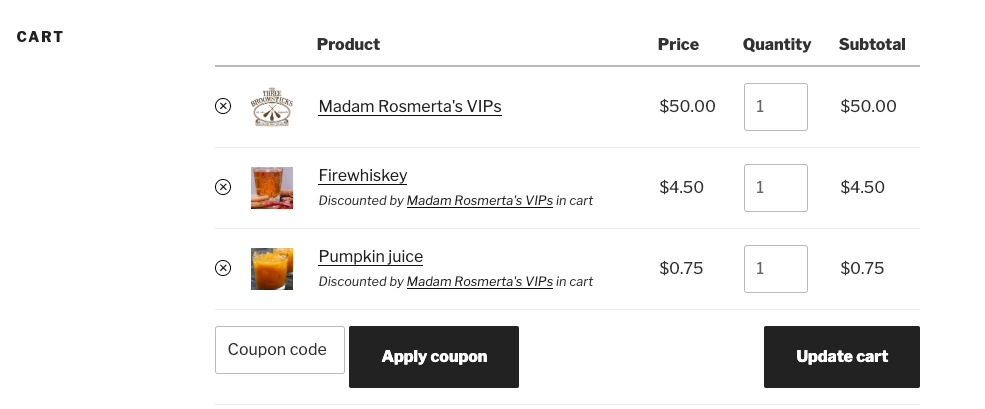 Cart notices for discounts applied by the presence of a membership product in the cart.