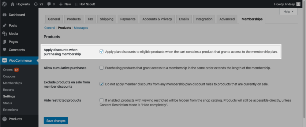 """The """"Apply discounts when purchasing membership"""" setting in the Memberships Products settings area."""