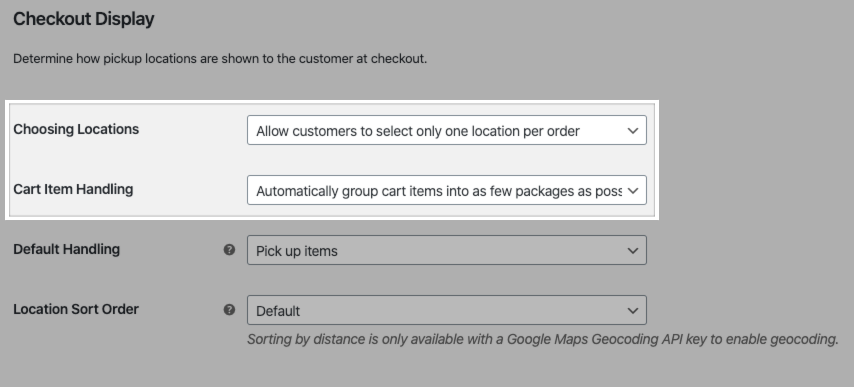 The Choosing Locations and Cart Item Handling settings for Local Pickup Plus.