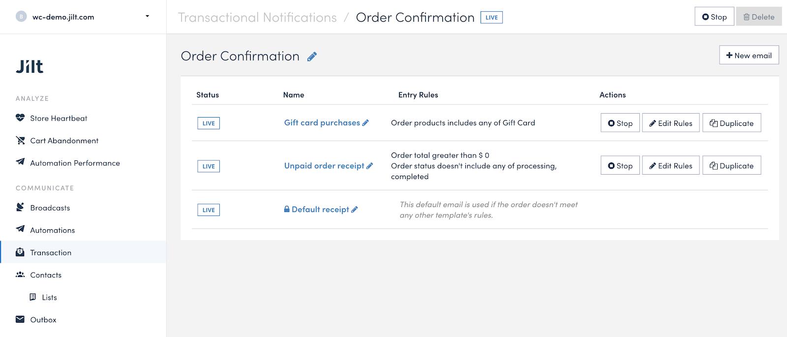 Using a transactional notification in Jilt.