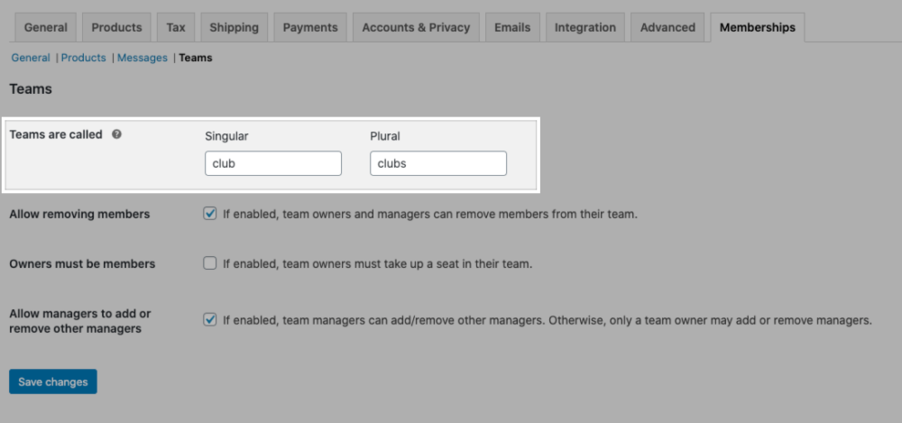 """The """"Teams are called"""" setting in the Teams for Memberships plugin settings."""
