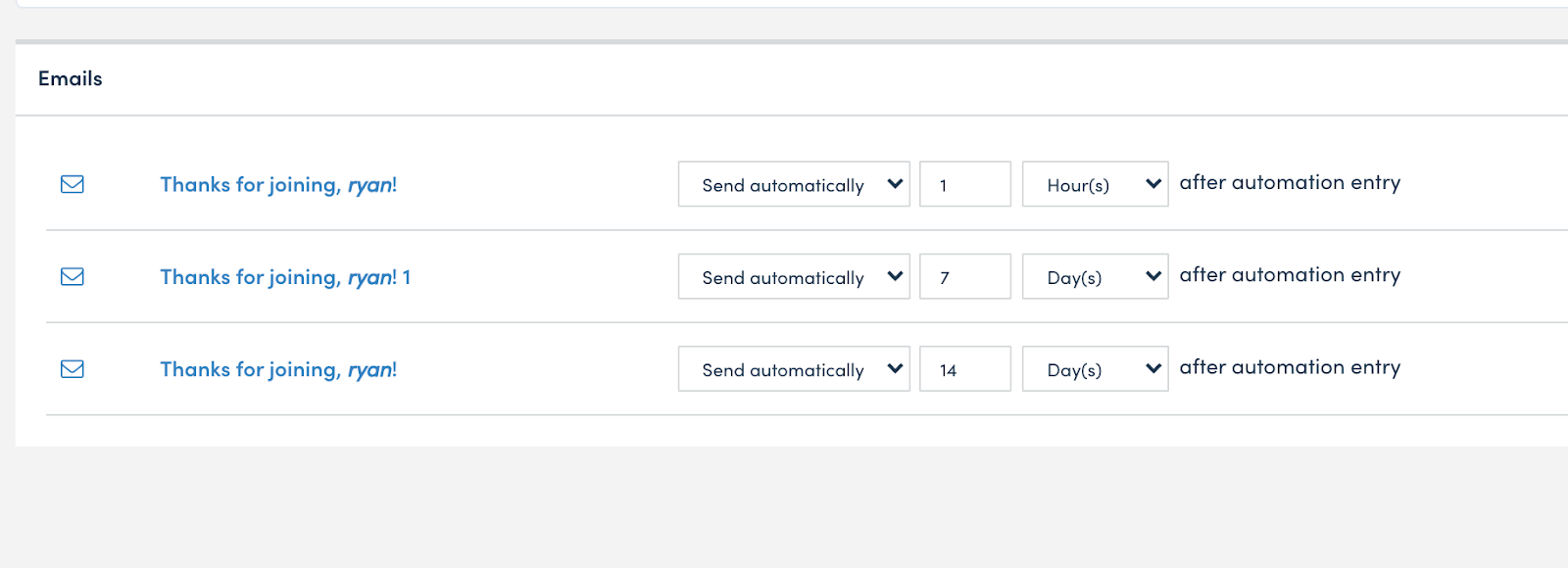 Set the automation timing.