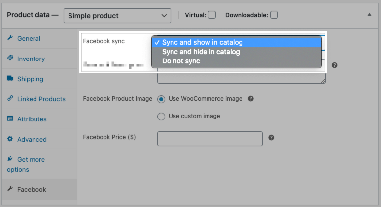 The Facebook sync setting on a WooCommerce product.