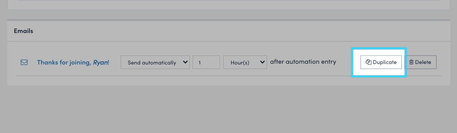 Duplicating a welcome email.