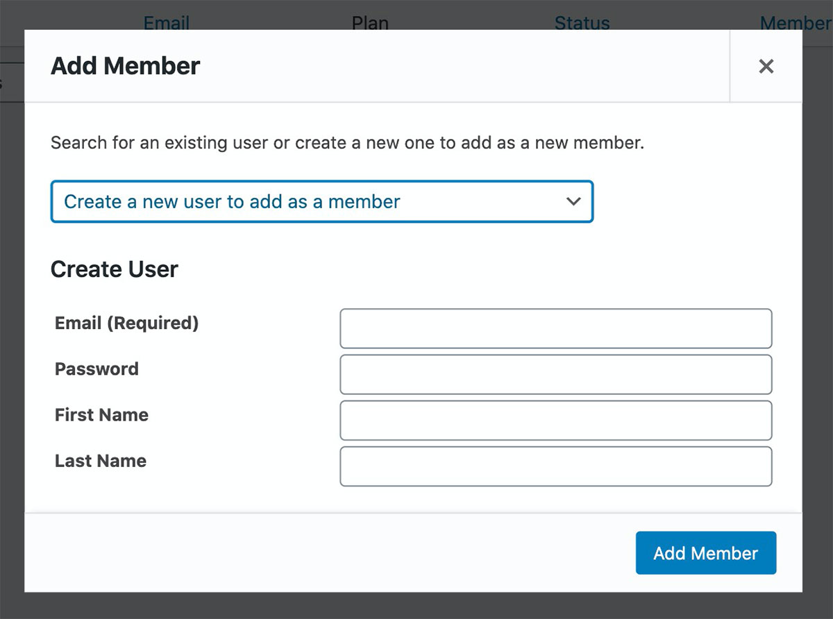 Manually adding a new member's information.
