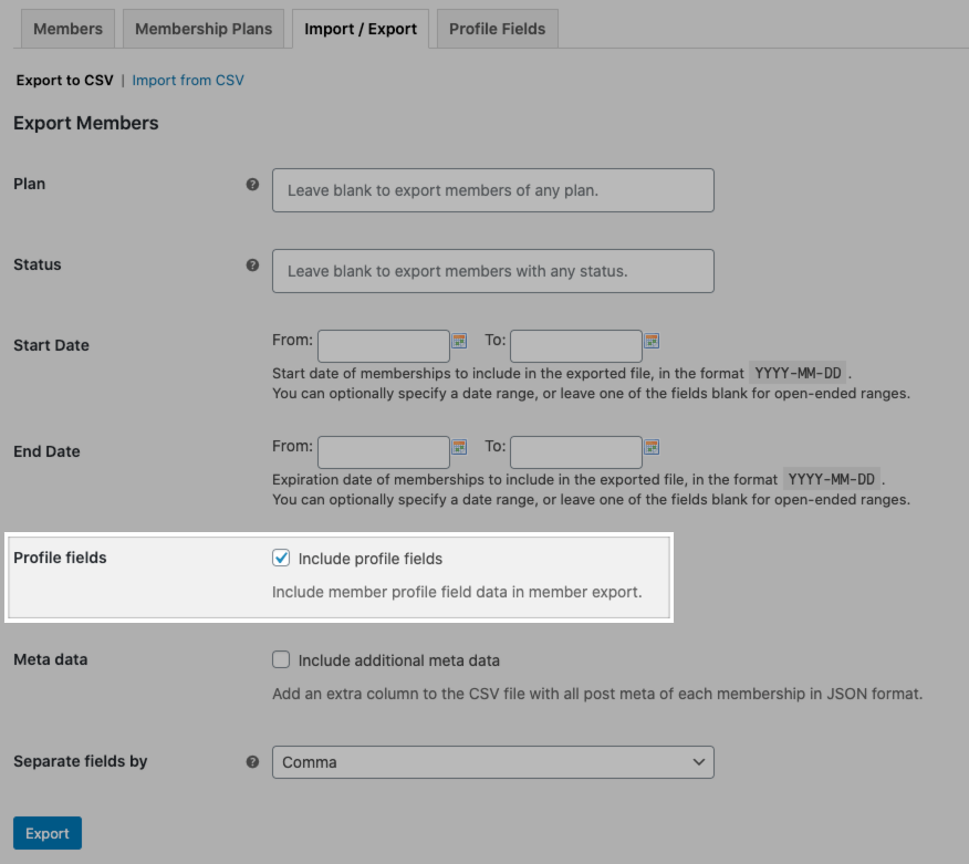 Setting to include profile fields in Memberships export.