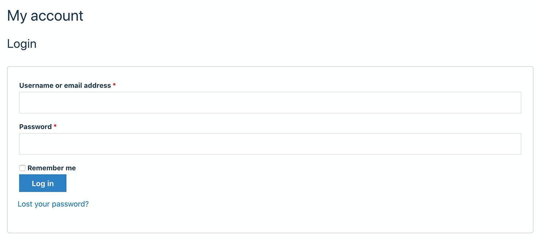The default login page.