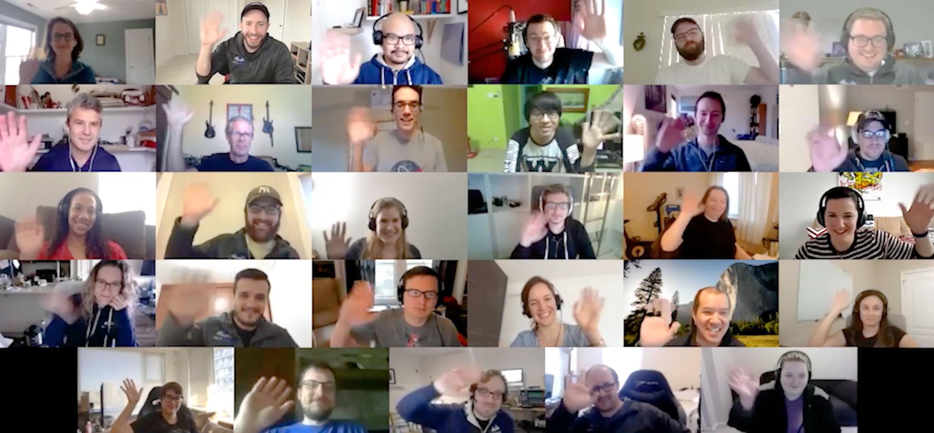 SkyVerge team waving.