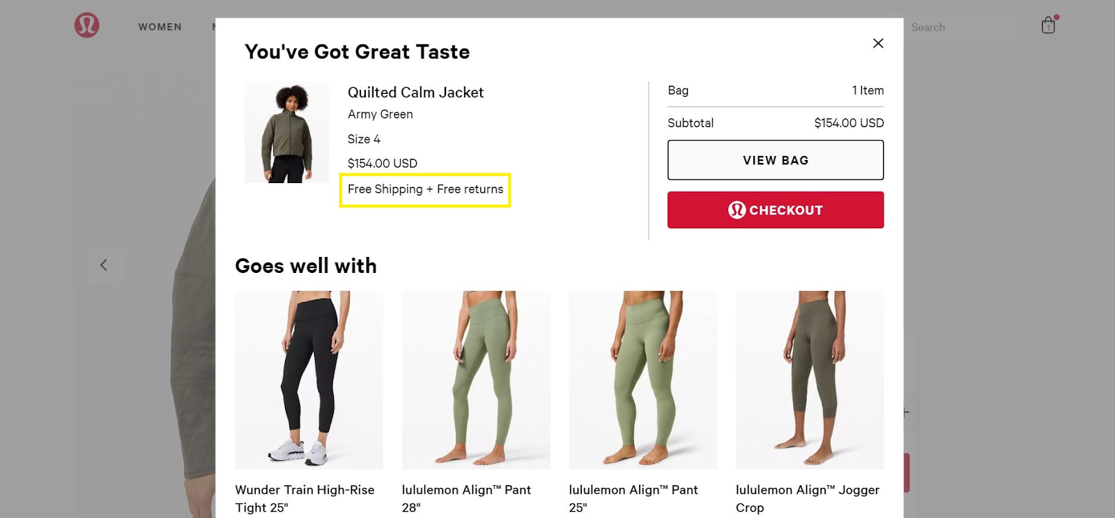 Lululemon's clear offer of free shipping.