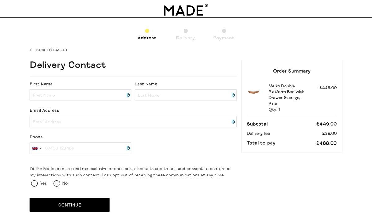 Streamline your checkout process like Made.