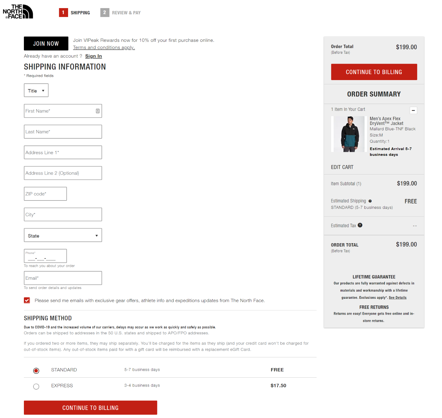 The North Face offers a smooth checkout process.